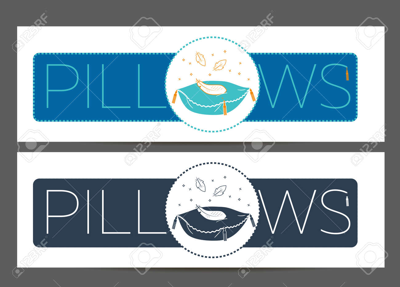 label banner for manufacturing cleaning pillows icon in the