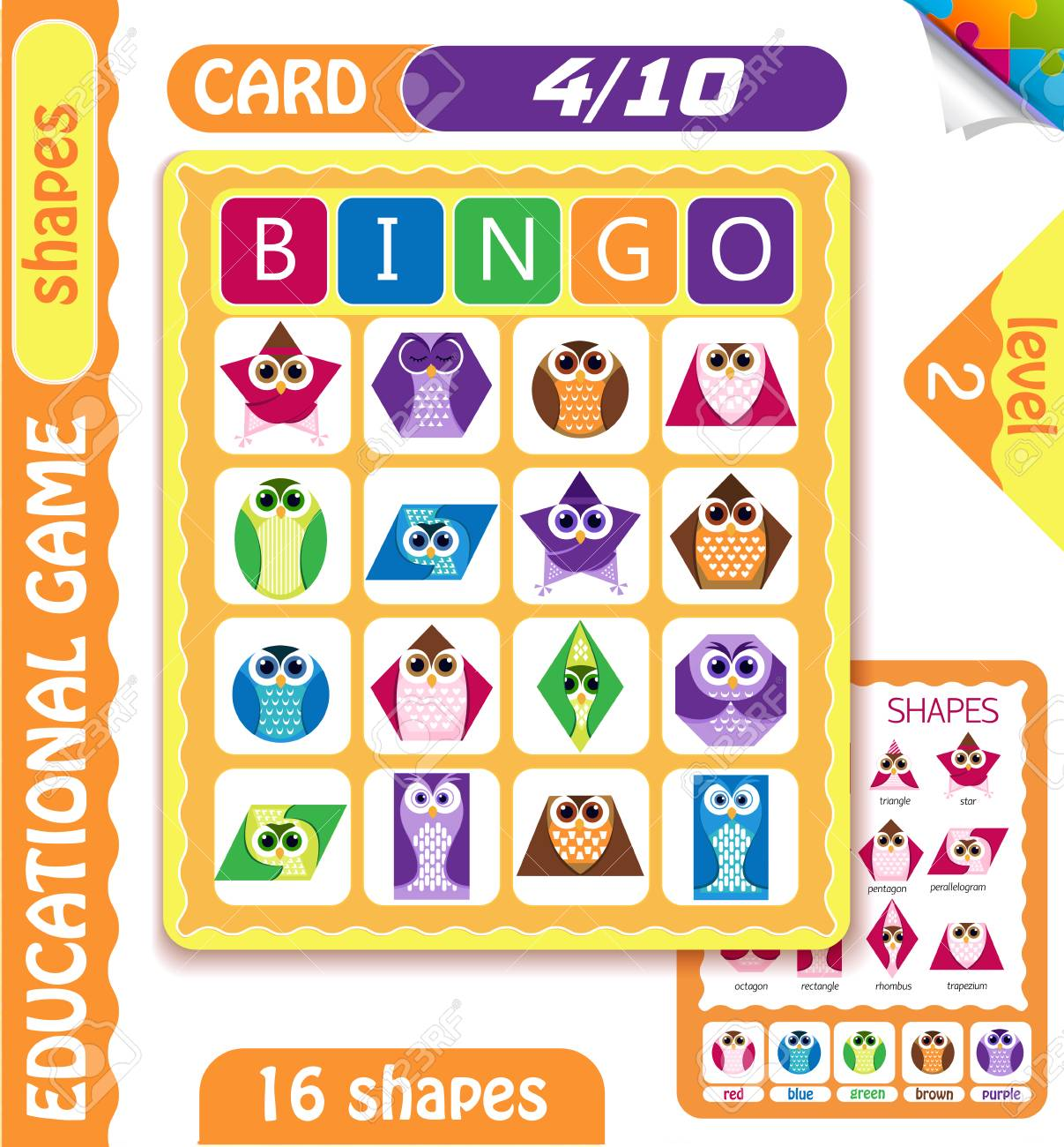 Educational Bingo Game For Preschool Kids With Shapes In The Form Of Owls Cards