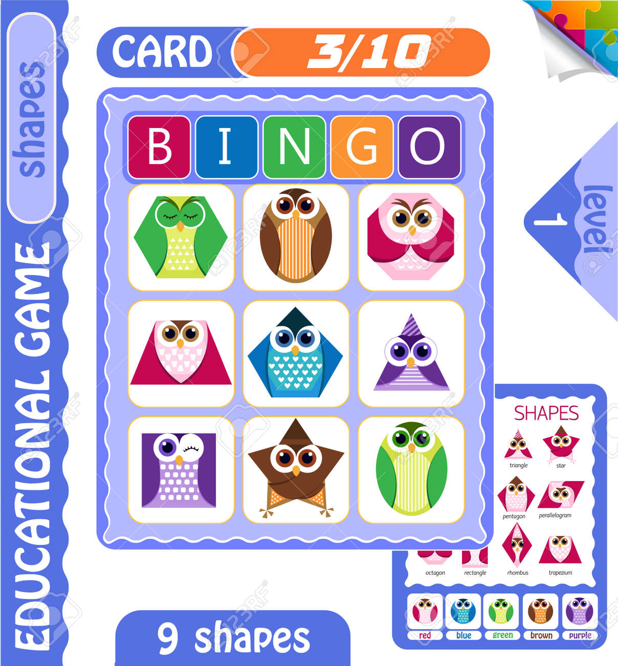 Educational Bingo Game For Preschool Kids With Shapes In The