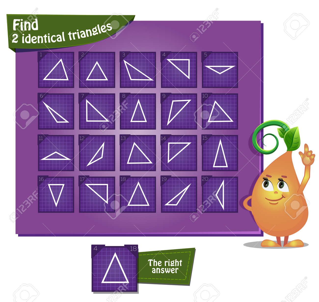 Visual Game For Children And Adults Task The Find 2 Identical