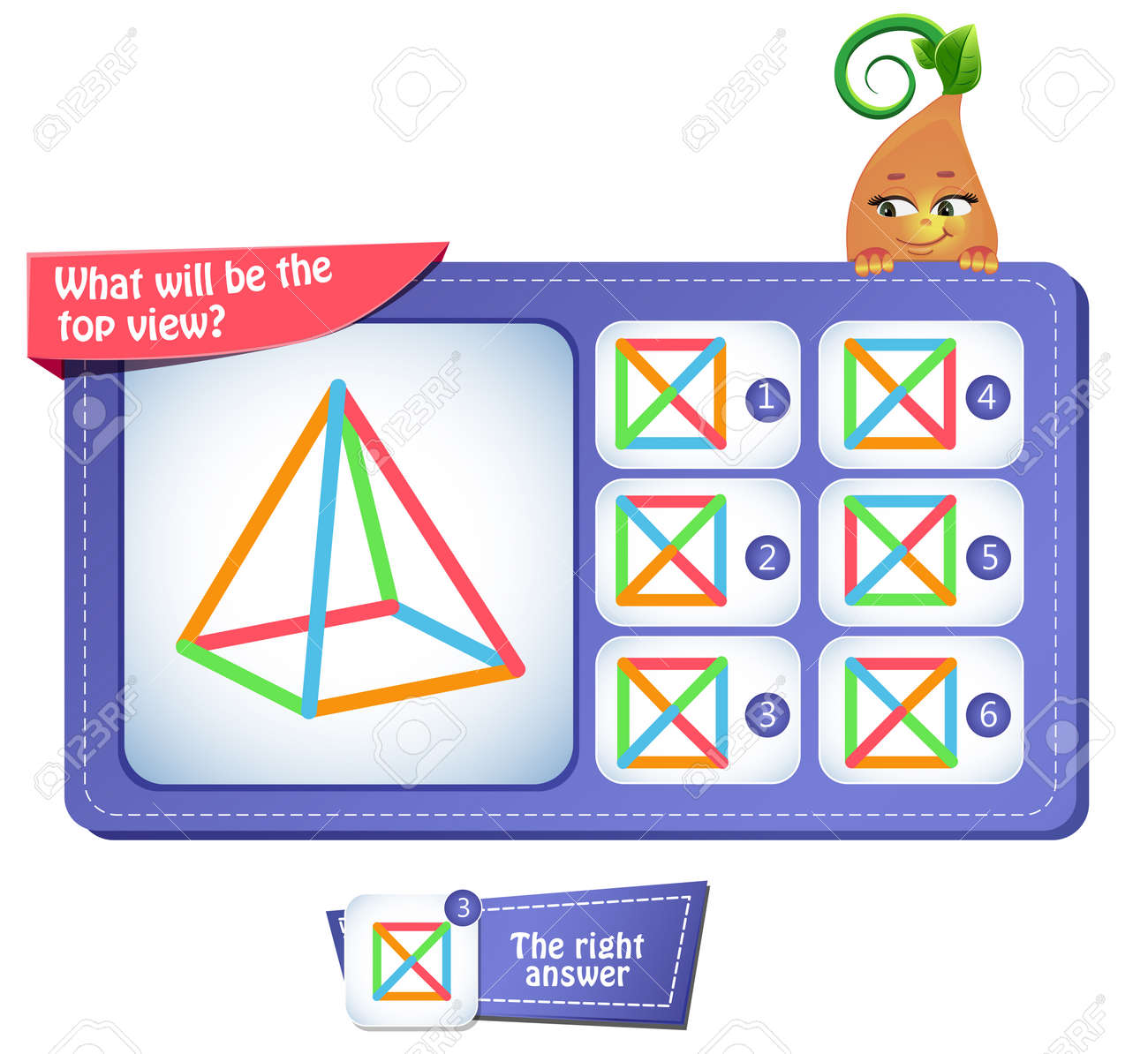 Educational game for kids, puzzle. development of spatial thinking in children. Task game what will be the top view - 97278802