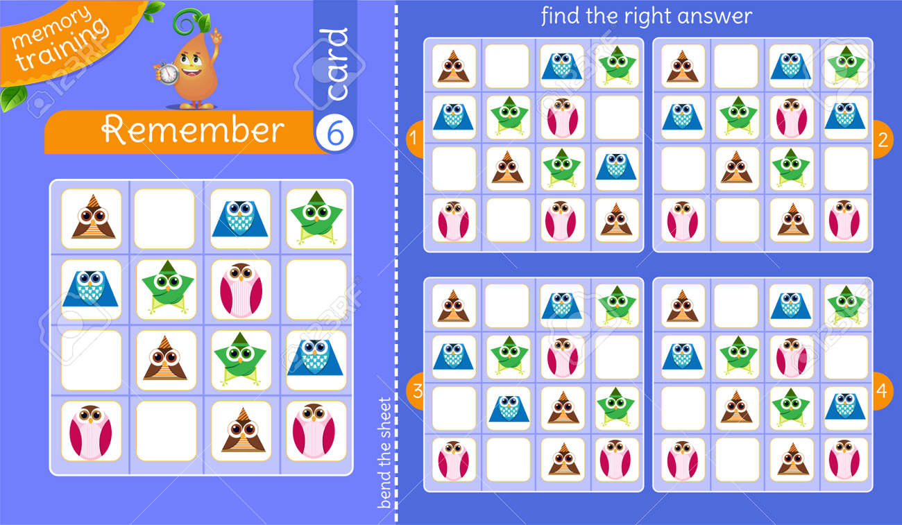 memory training for children and adults. task of the game is to remember, find the right answer - 140633216