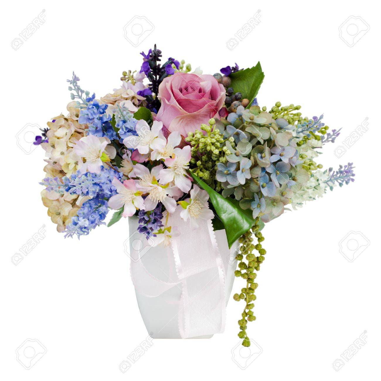 colorful flower bouquet arrangement centerpiece in vase isolated on white Stock Photo - 14583752