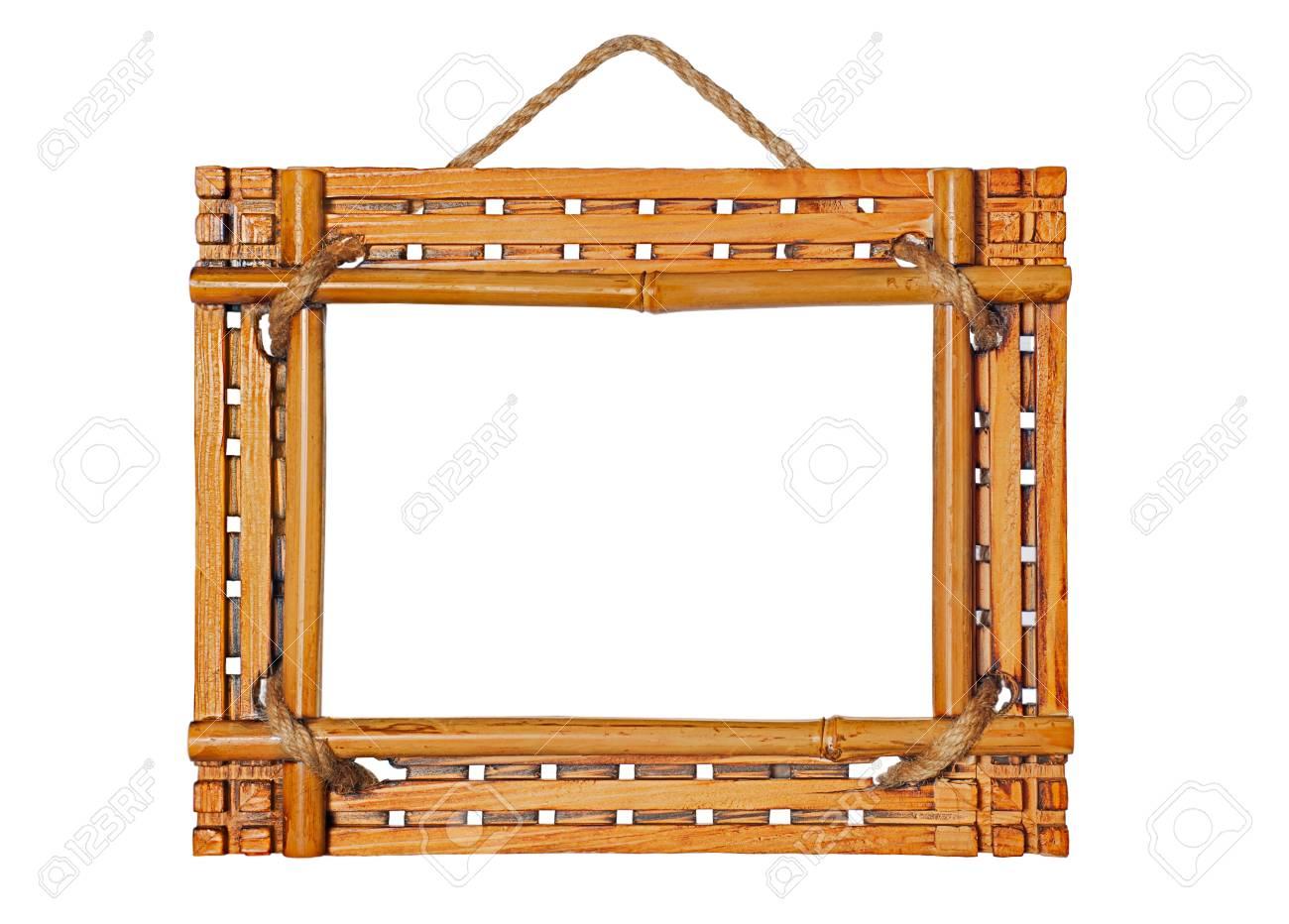 Bambus-Bilderrahmen Isoliert Auf Weißem Hintergrund Lizenzfreie ...
