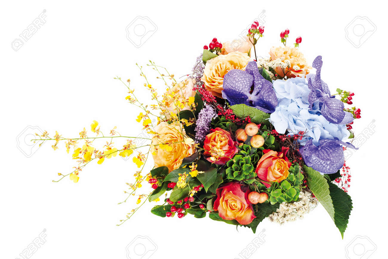 colorful floral  bouquet of roses, lilies, freesia, orchids and irises isolated on white background Stock Photo - 15797934