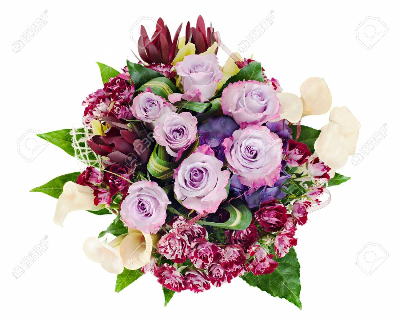 colorful floral bouquet of roses, lilies and orchids isolated on white background Stock Photo - 16242120