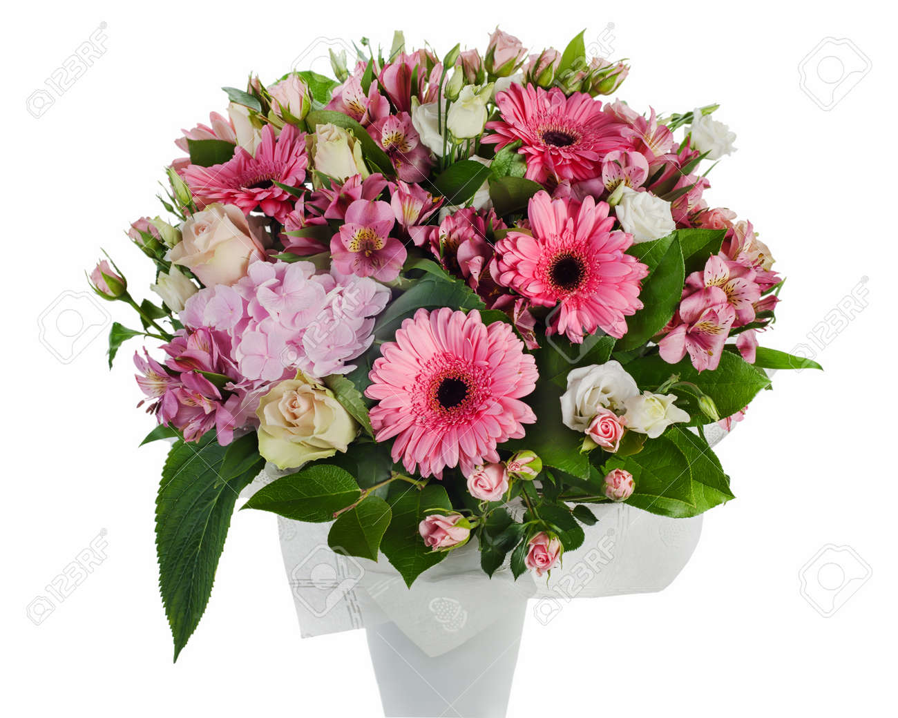 colorful floral bouquet of roses, lilies and orchids arrangement centerpiece in vase isolated on white background Stock Photo - 16242122