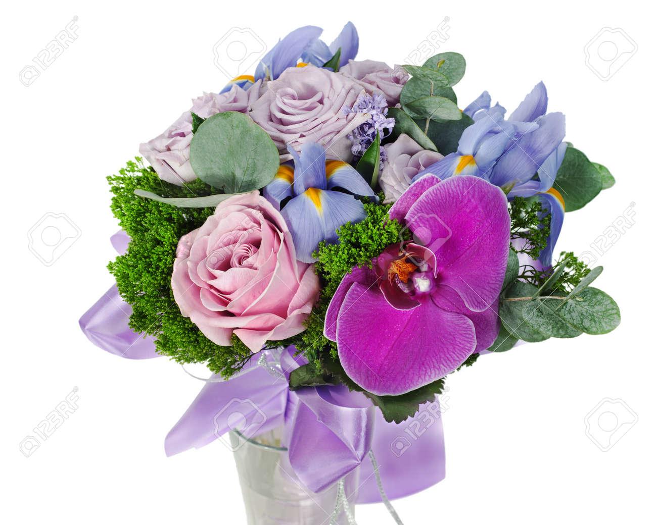 Mazzo Di Fiori Orchidee.Immagini Stock Colorato Bouquet Di Fiori Per La Sposa Di Rose