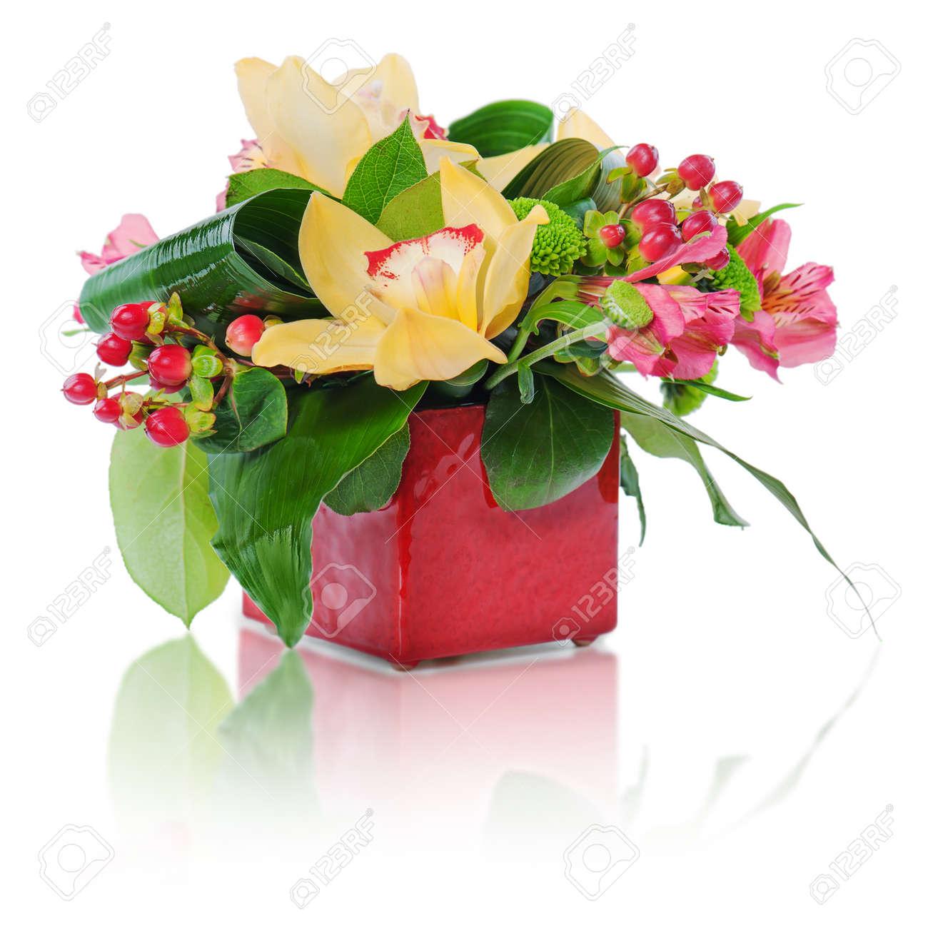 Colorful Floral Bouquet Of Roses, Cloves And Orchids Arrangement ...