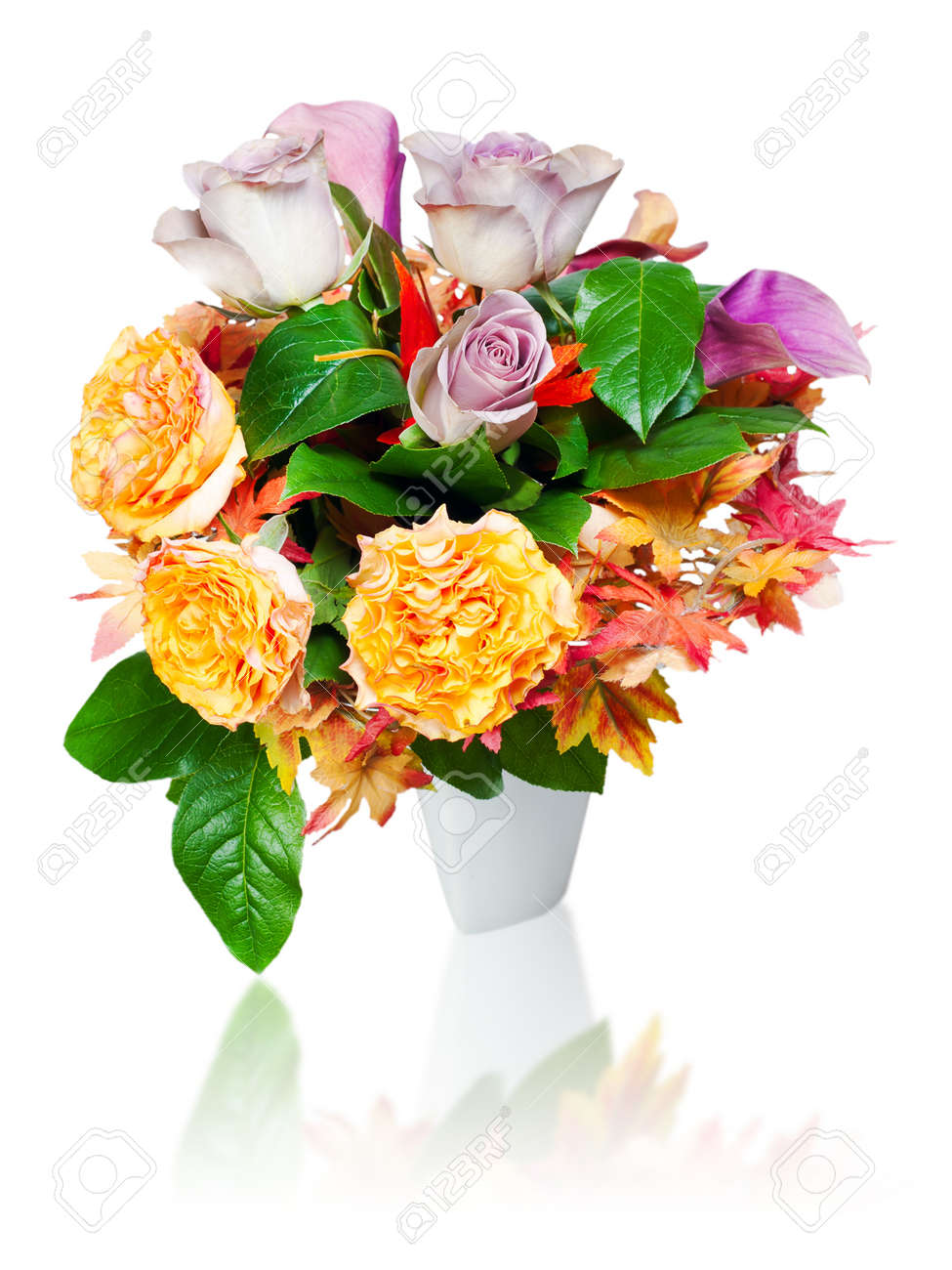 colorful autumn flower bouquet arrangement centerpiece in vase isolated on white background Stock Photo - 17688102