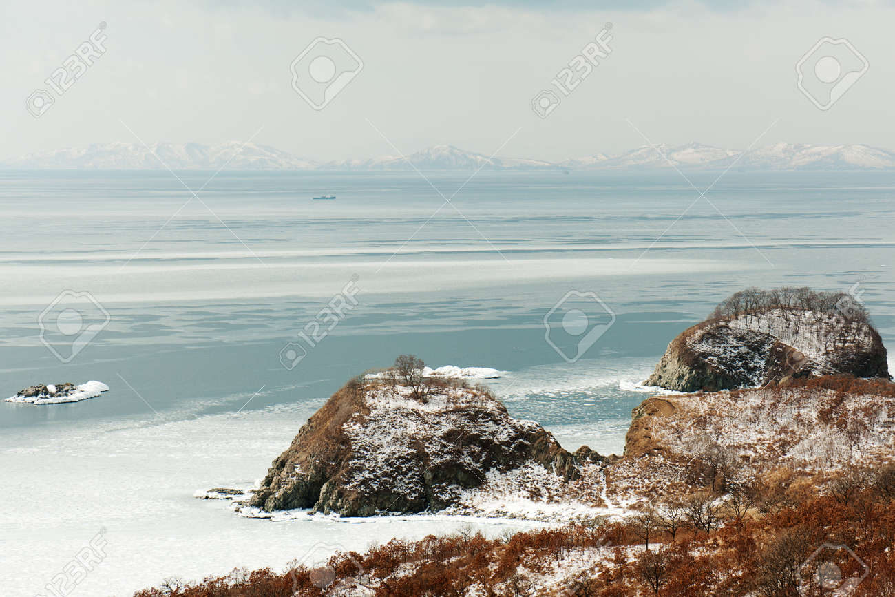Beautiful scenic view of coast Japanese sea in winter. Stock Photo - 18085003