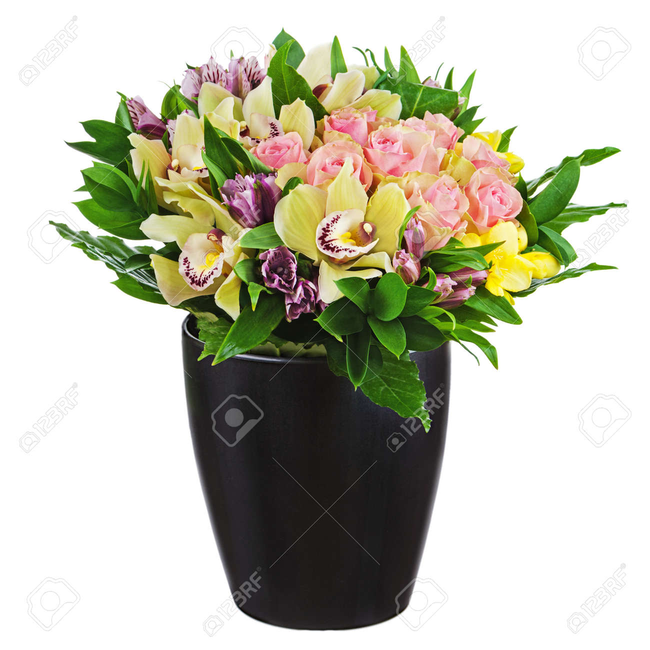 Floral bouquet of roses lilies and orchids arrangement centerpiece floral bouquet of roses lilies and orchids arrangement centerpiece in black vase isolated on white mightylinksfo