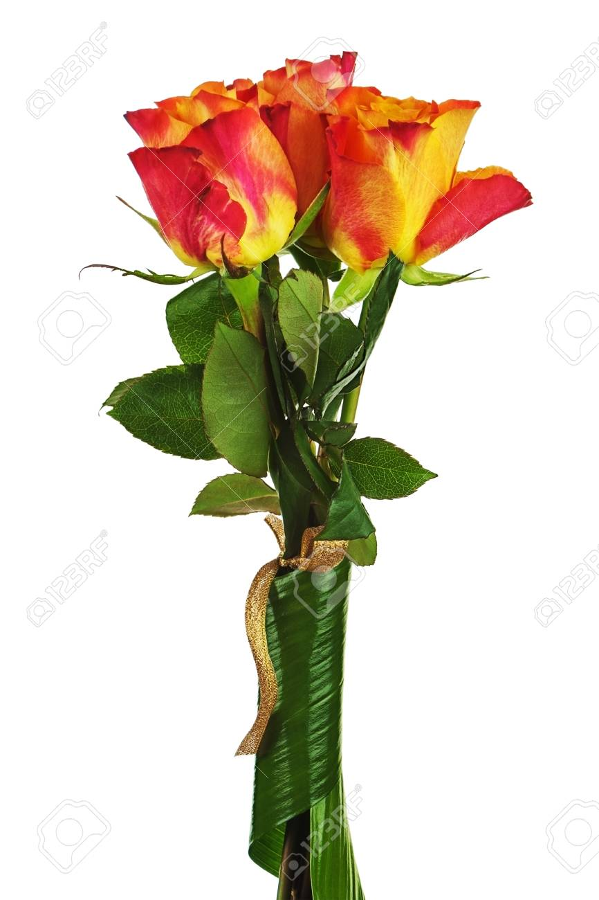 Colorful flower bouquet from roses isolated on white background.  Closeup. Stock Photo - 23562124