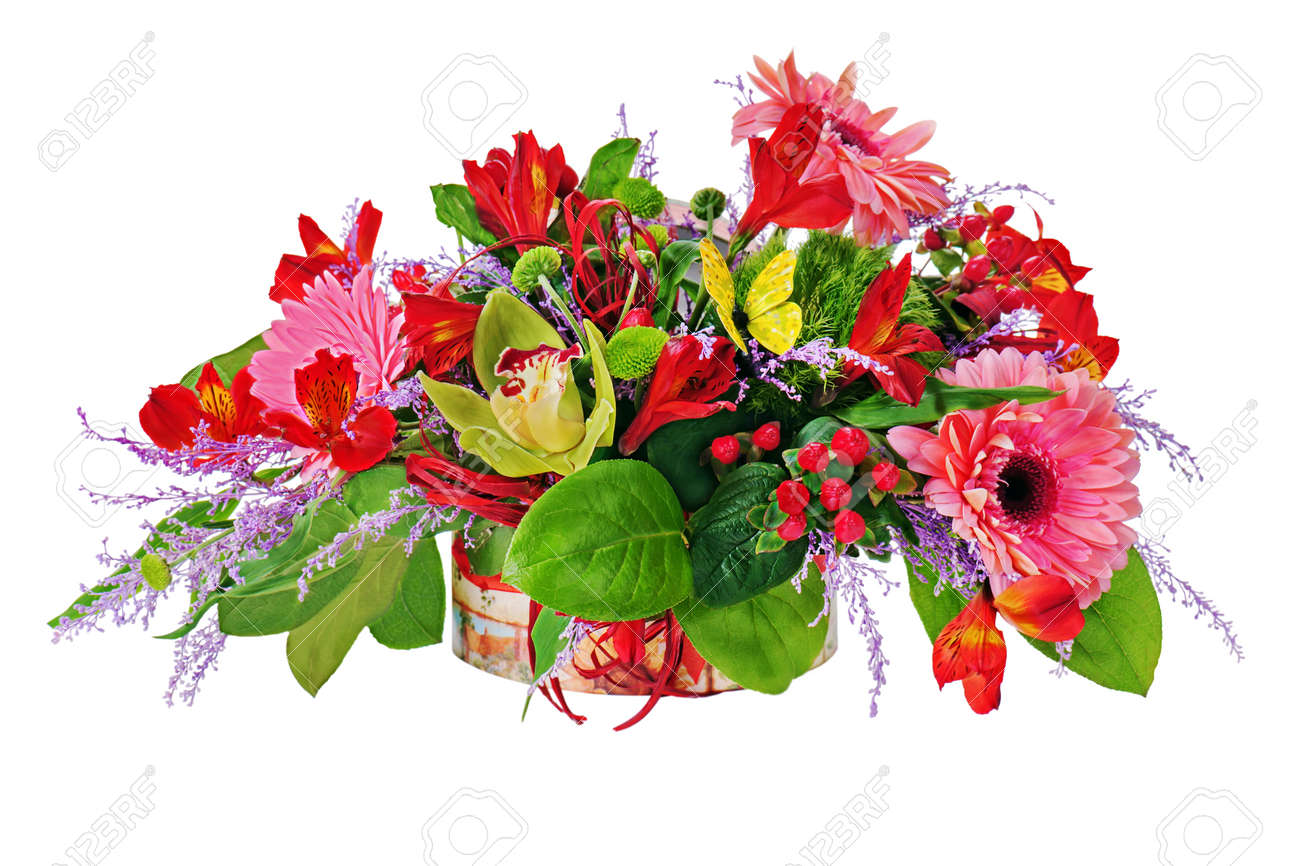 Arreglo Floral De Lirios Flores Gerberas Y Orquídeas En El Pecho De Cartón Aislados En Blanco Primer Plano