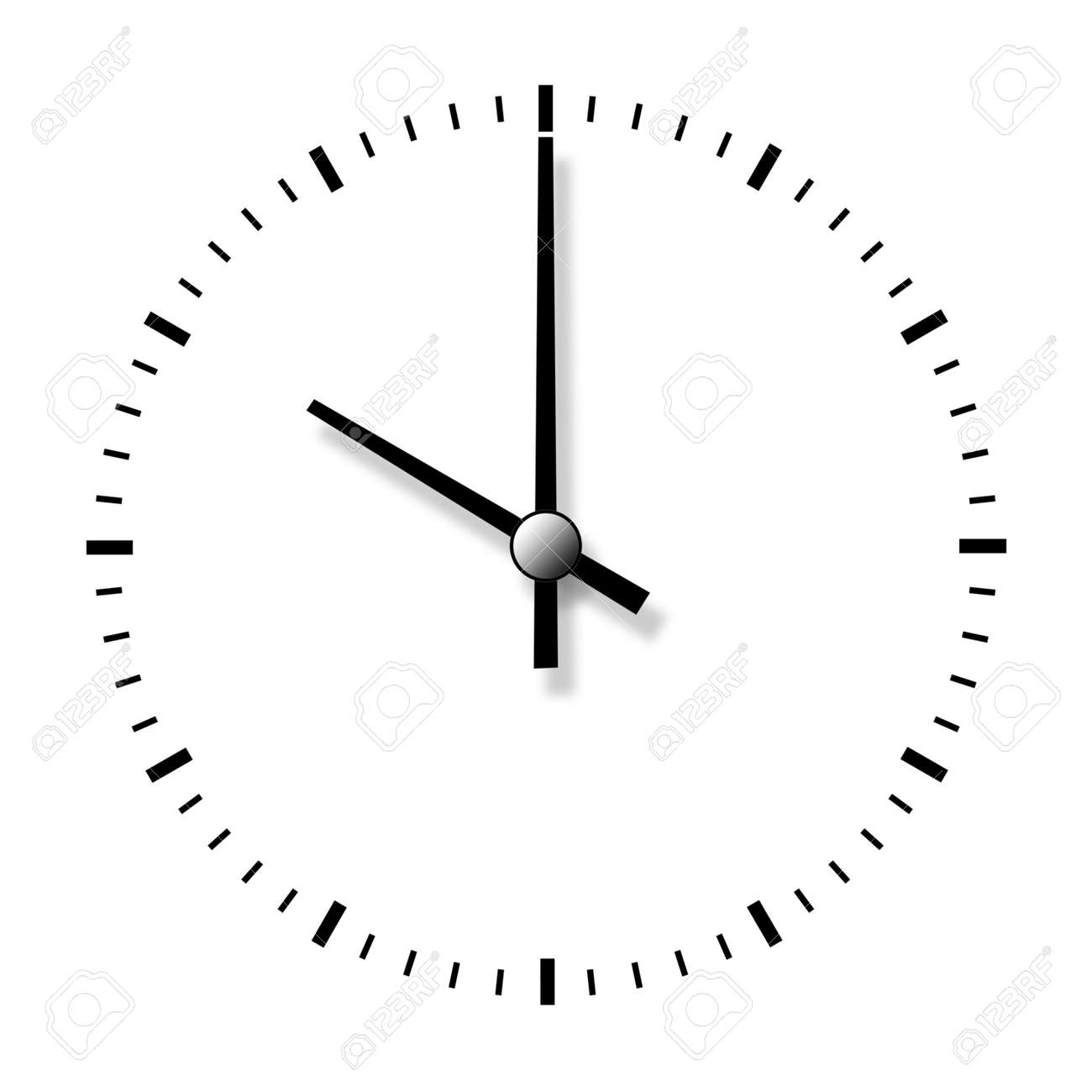 Clock Without Numbers Isolated On White Background Closeup Stock