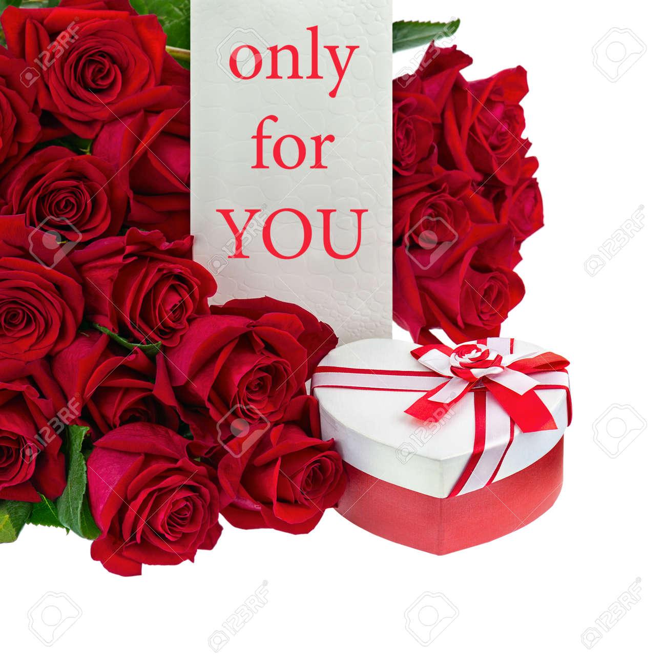 Geschenk Box In Form Von Herzen Und Bouquet Von Rosen Blumen Auf