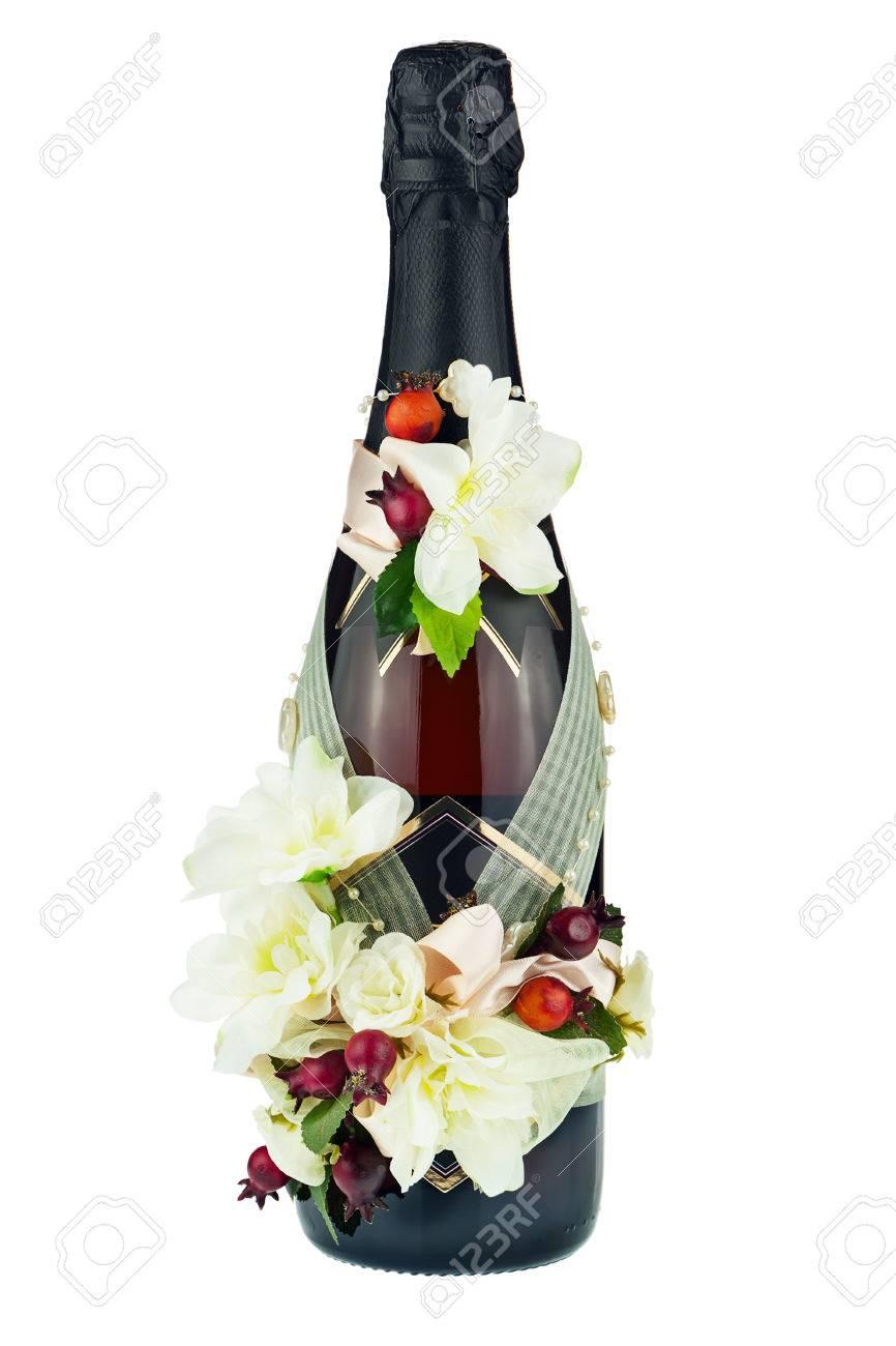 Champagne Bottle Decoration Champagne Bottle With Wedding Decoration Of Flower Arrangements