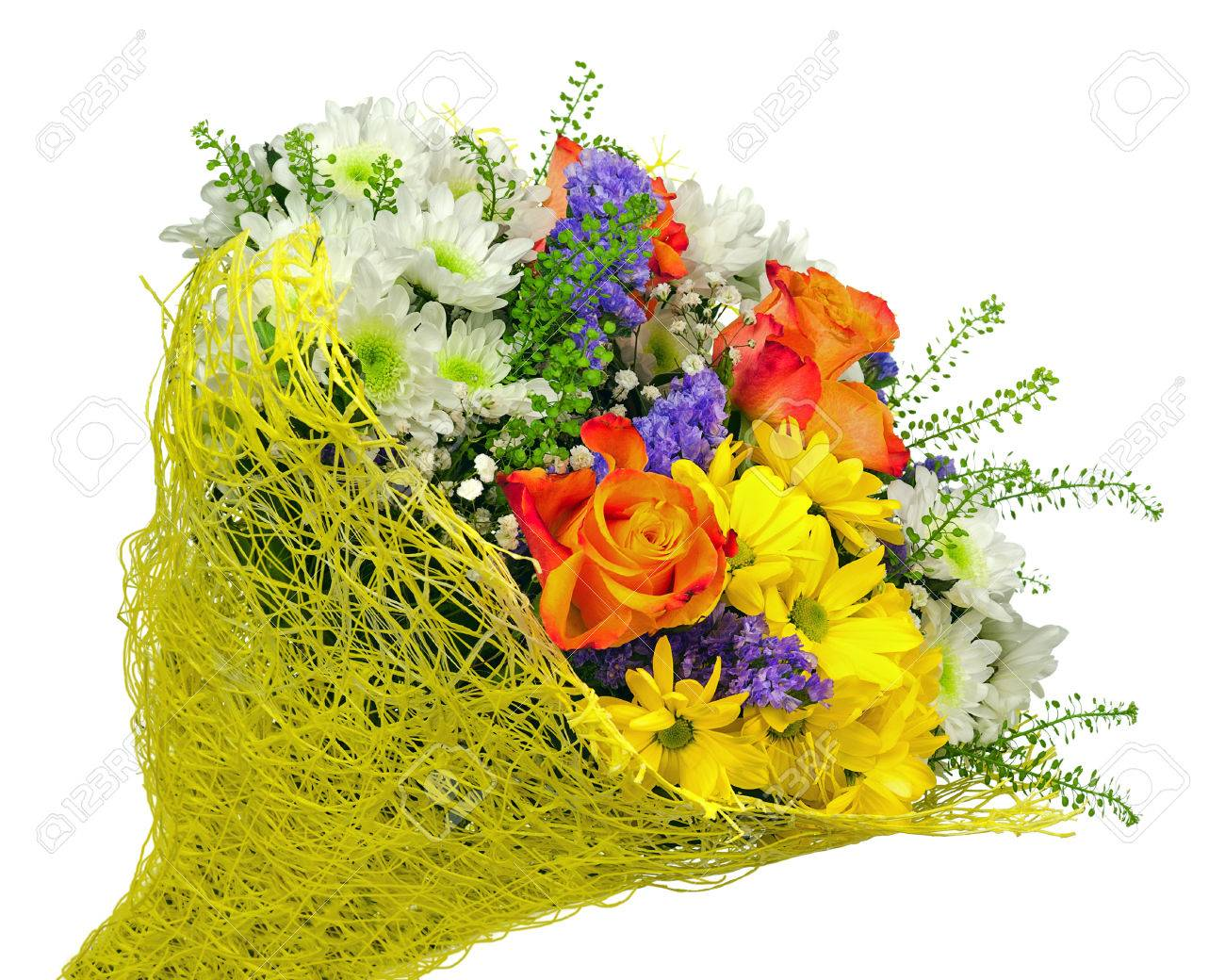 Beautiful Bouquet Of Gerbera Roses And Other Flowers In Yellow