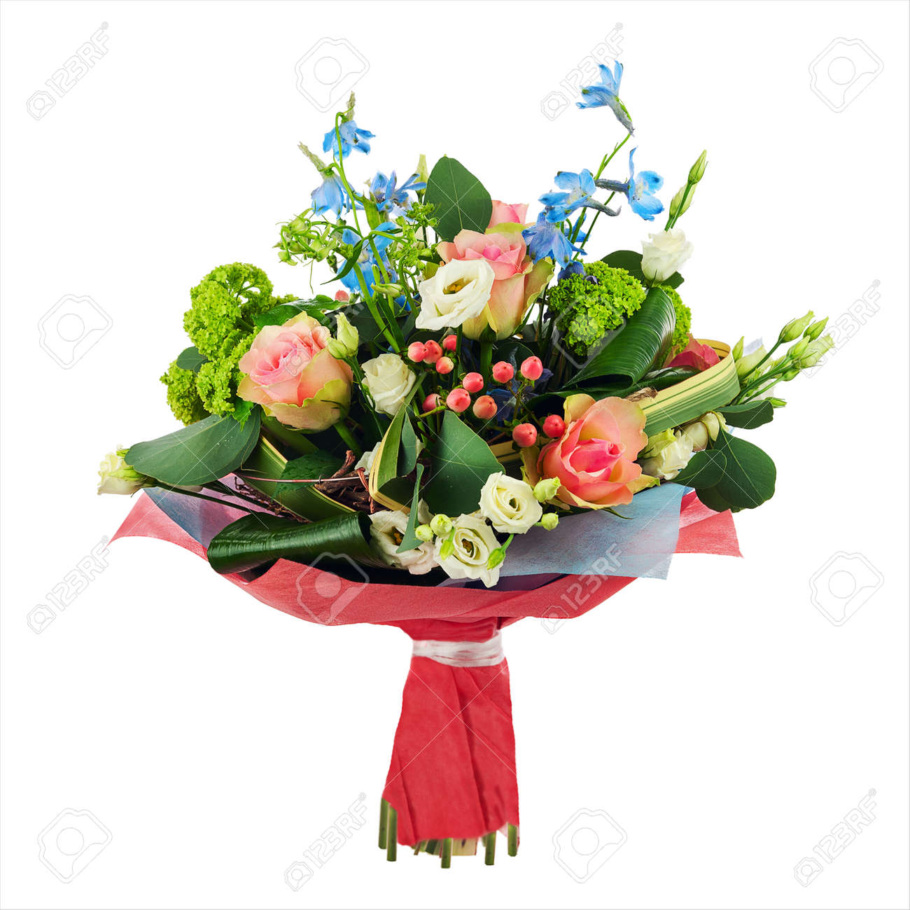 Flower Bouquet From Multi Colored Roses, Iris And Other Flowers ...