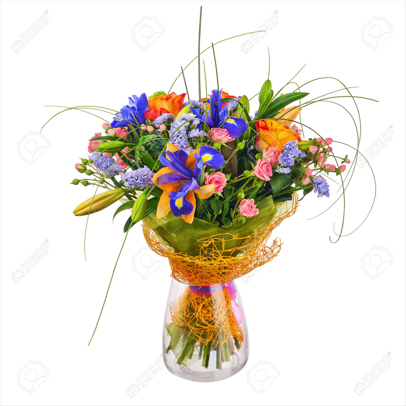 Flower bouquet from roses iris and statice flowers in glass stock flower bouquet from roses iris and statice flowers in glass vase isolated on white background izmirmasajfo
