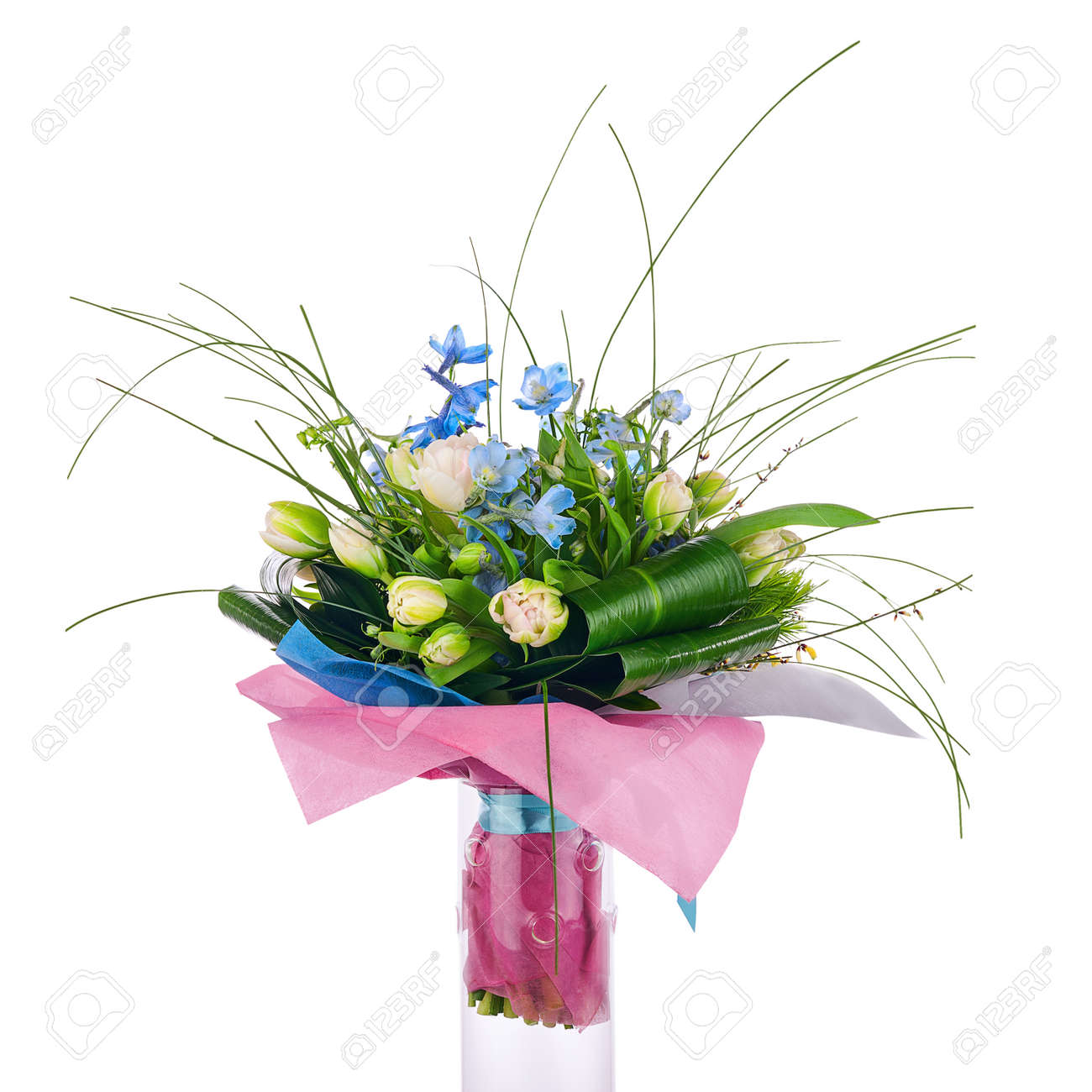 Flower Bouquet From Tulips Iris And Other Flowers Arrangement