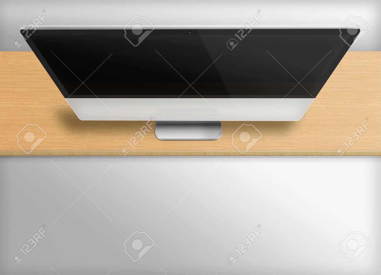Moniteur de l ordinateur moderne avec écran noir sur le bureau en