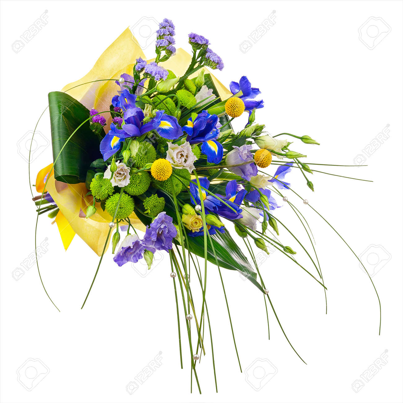 Flower Bouquet From Roses Green Carnation Iris And Statice Stock