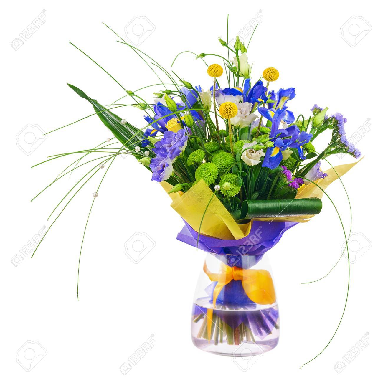 Flower bouquet from roses green carnation iris and statice stock flower bouquet from roses green carnation iris and statice flowers in glass vase isolated mightylinksfo