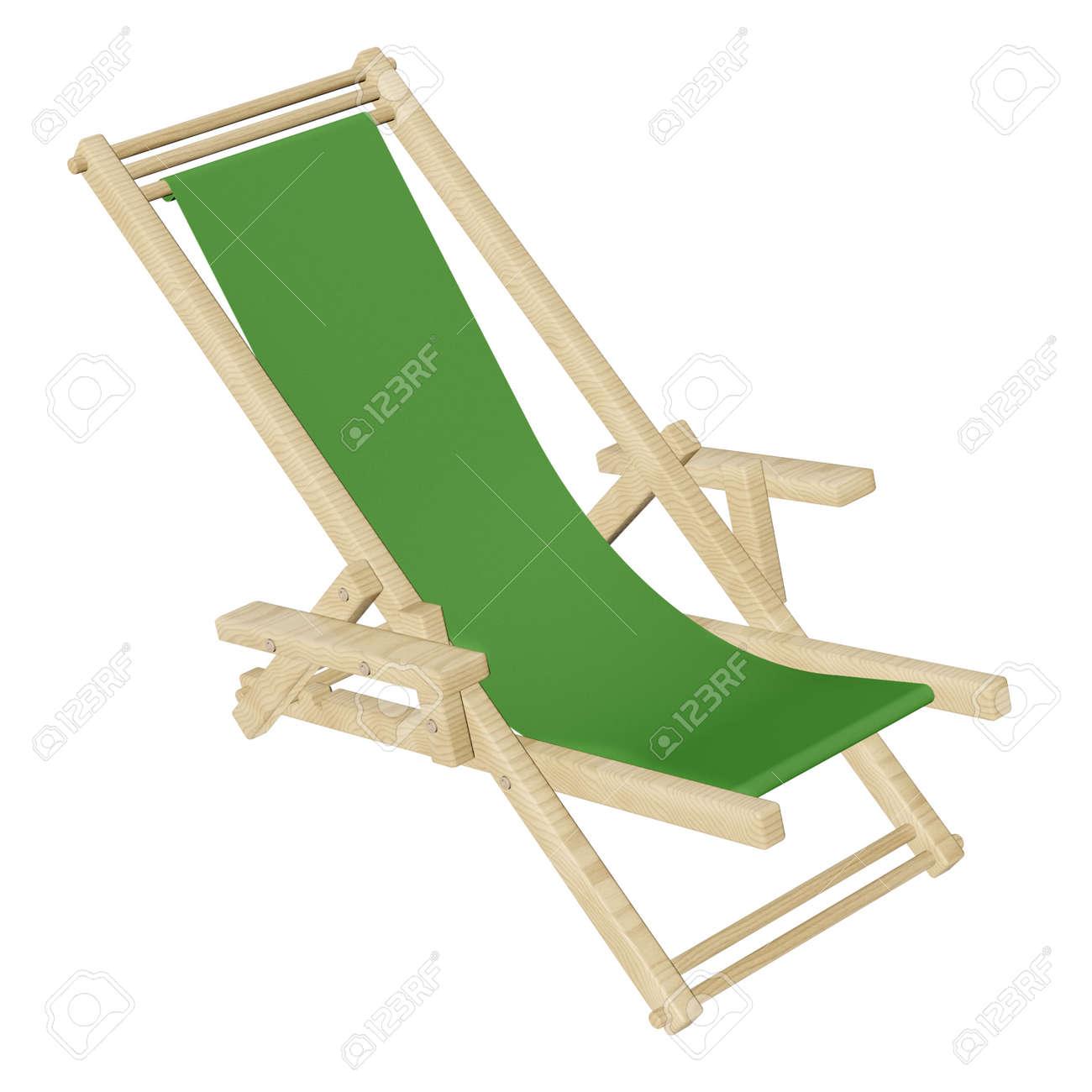 Avec Tissu Fond Longue BlancRendu Bois Vert Isolé Plage De 3d Chaise Sur En sxhQrtdC