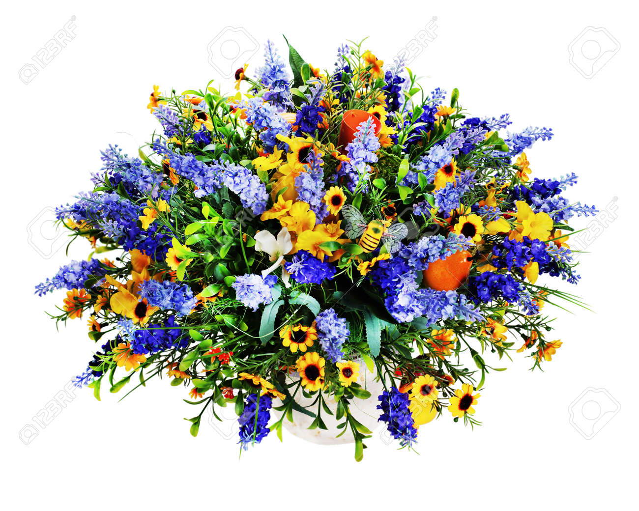 Colorful Floral Bouquet Of Lilies Sunflowers And Irises Flowers