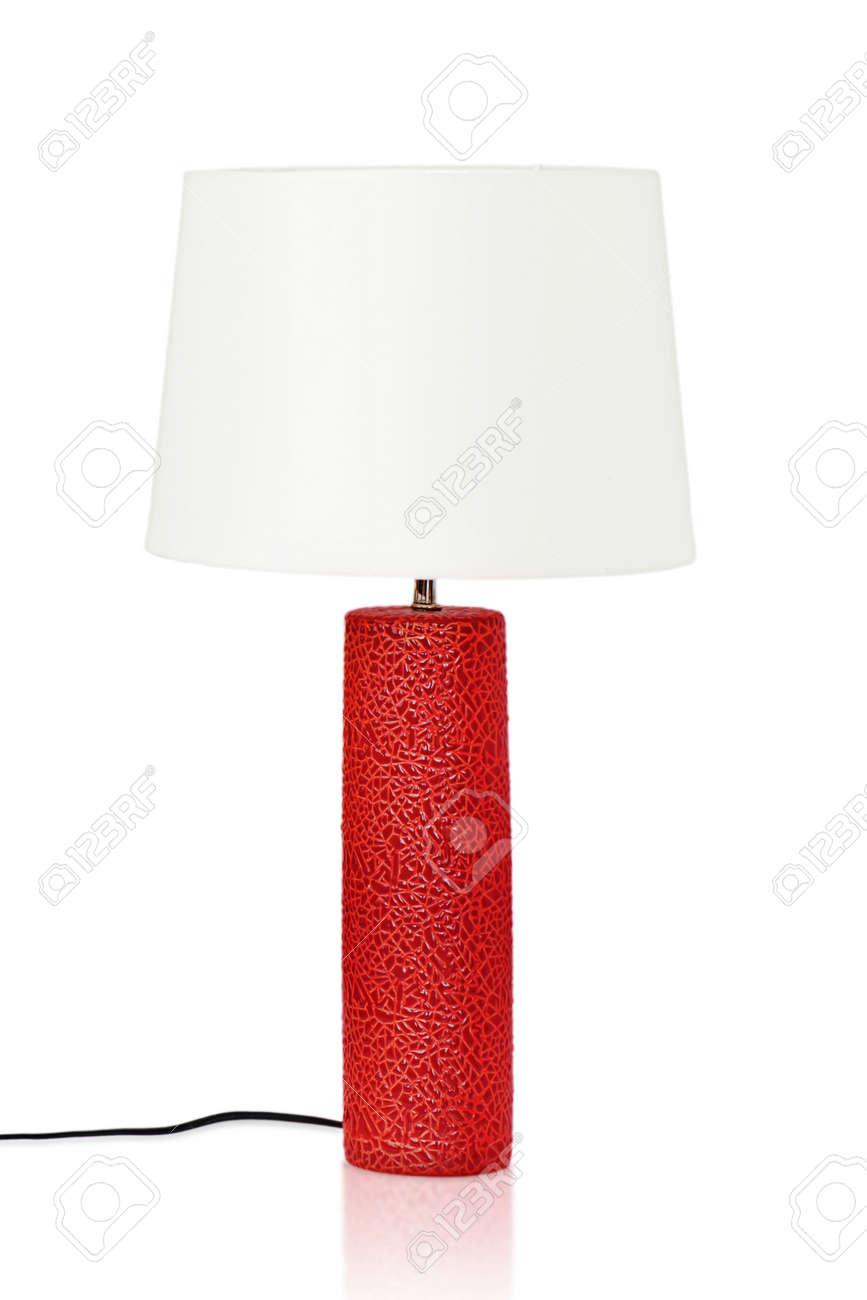 Immagini Stock Lampada Da Tavolo Rossa Isolata Su Una Priorita Bassa Bianca Avvicinamento Image 63627613