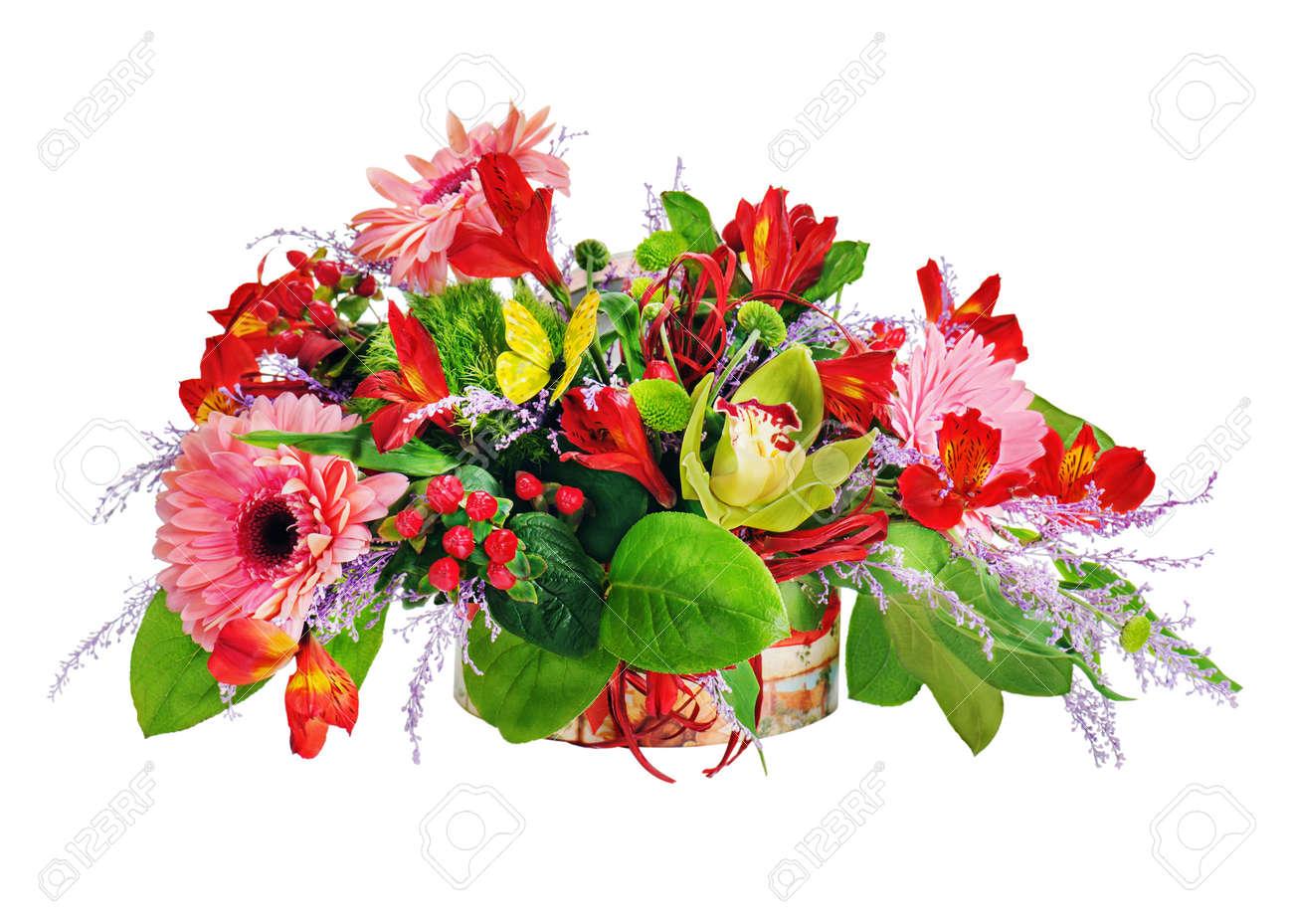 Arreglo Floral De Lirios Clavos Y Orquídeas En Cofre De Cartón En Blanco