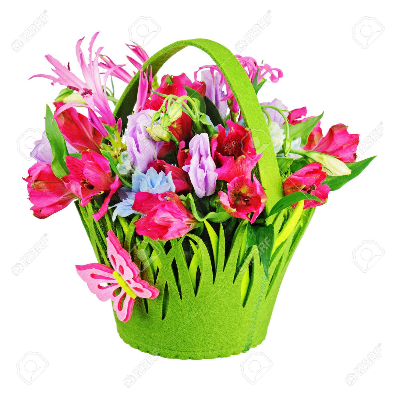 Colorful Flower Bouquet Arrangement Centerpiece In Baby Basket