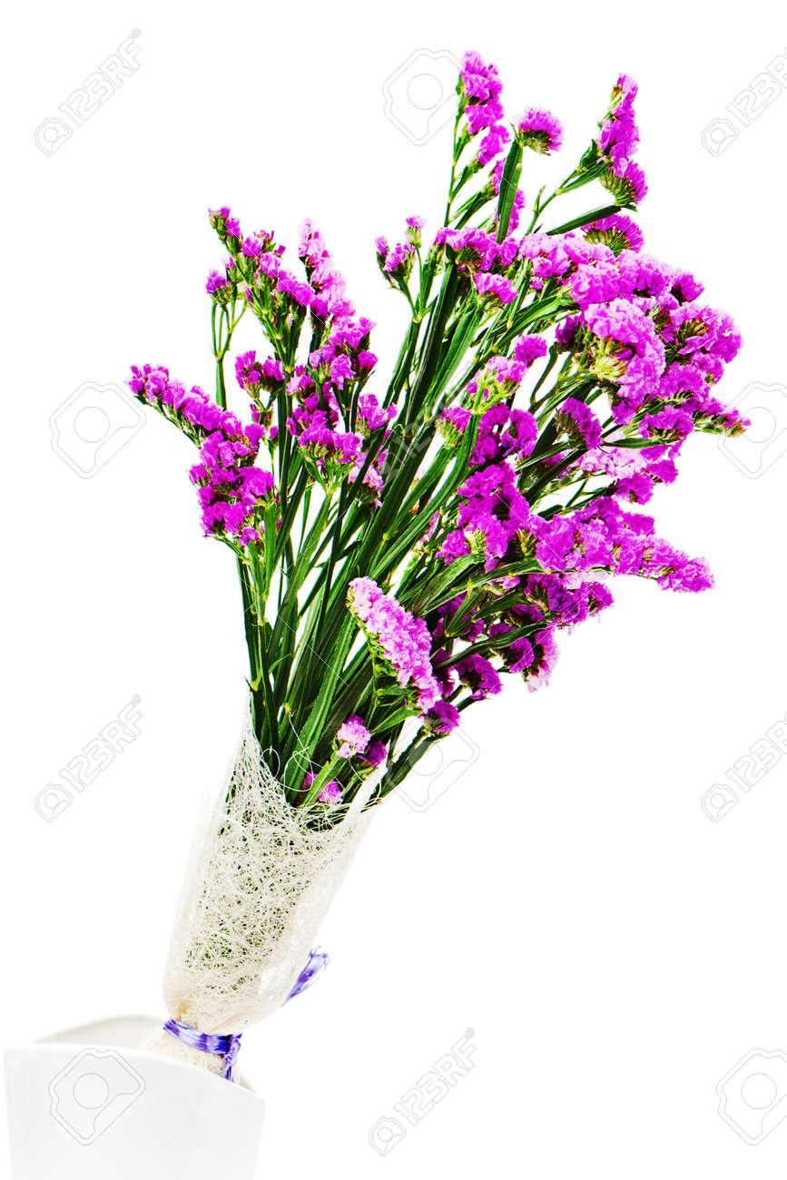 Bouquet from purple statice flowers in vase isolated on white bouquet from purple statice flowers in vase isolated on white background closeup stock photo mightylinksfo