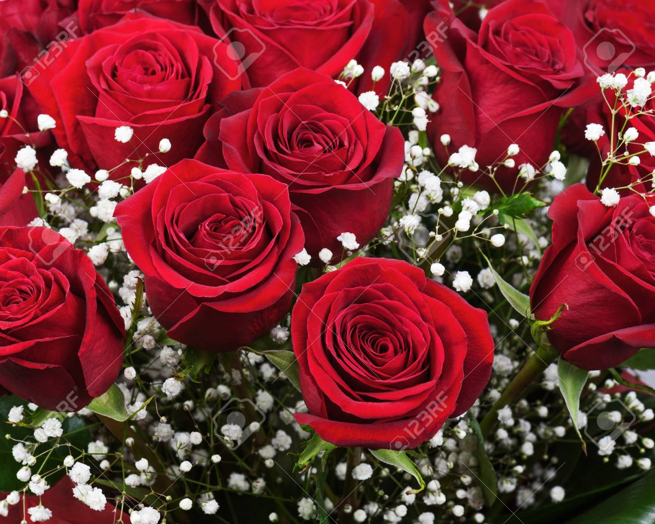 Nice Flower Bouquet From Red Roses Closeup Stock Photo Picture