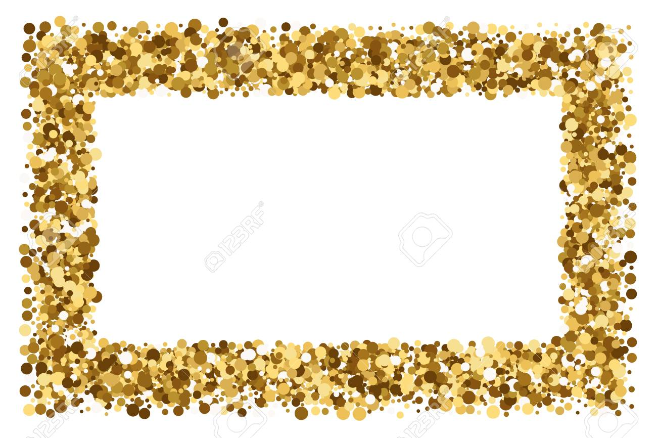 Gold Frame Glitter Texture Isolated On White Background. Gilded ...