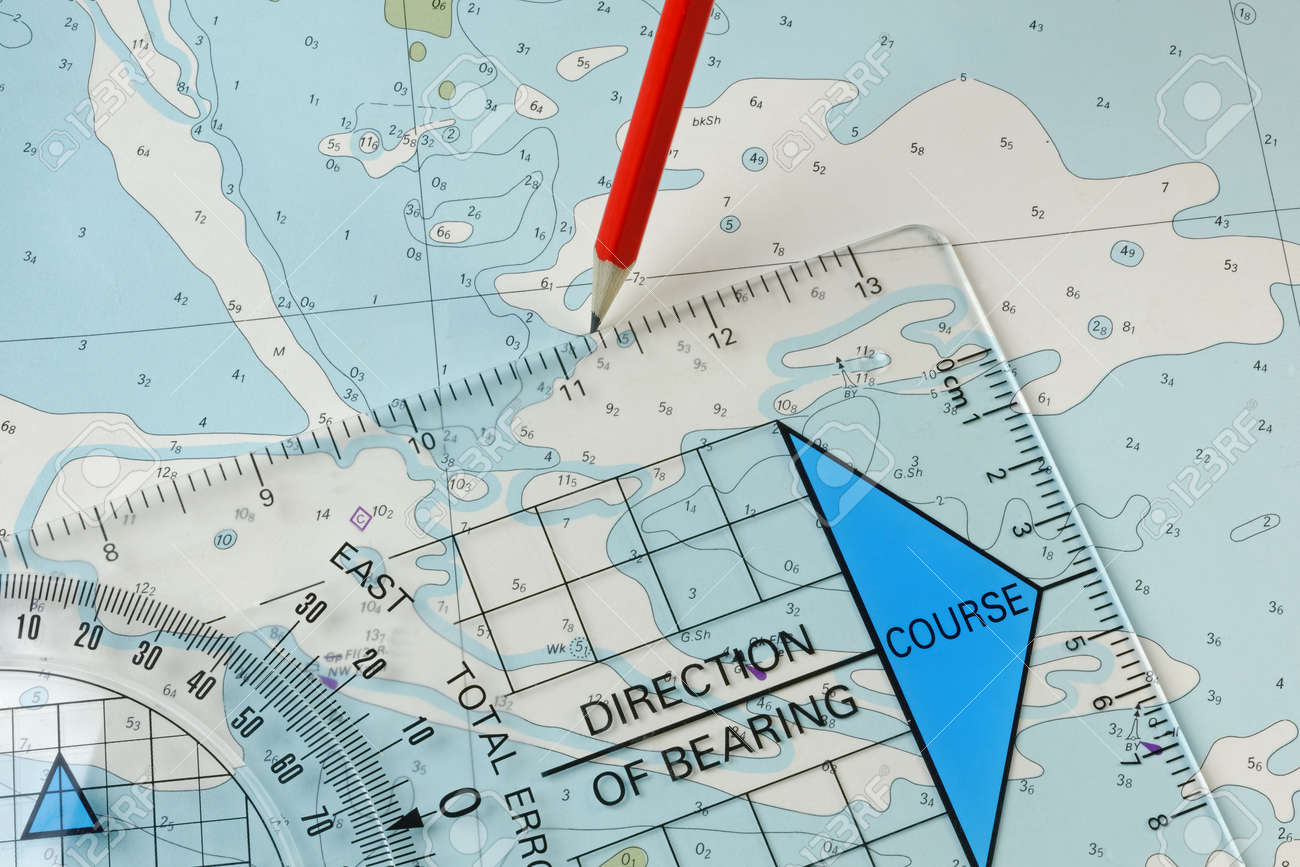 A Course Being Plotted On An Old Chart With A Pencil And Course - Map plotter free