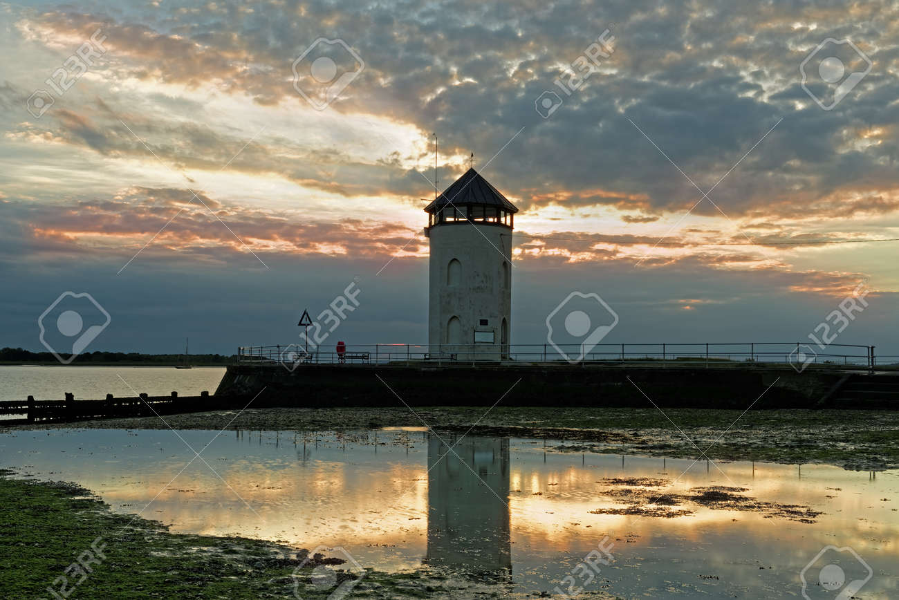 Historic coastal lookout tower on the coast in the UK  Seen at