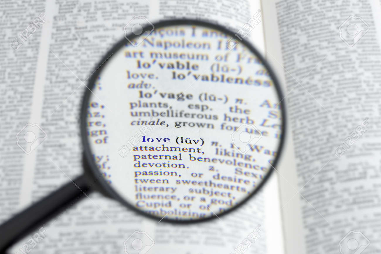 Stock Photo The Word Love In A Dictionary Seen Through A Magnifying Gl Shallow D O F