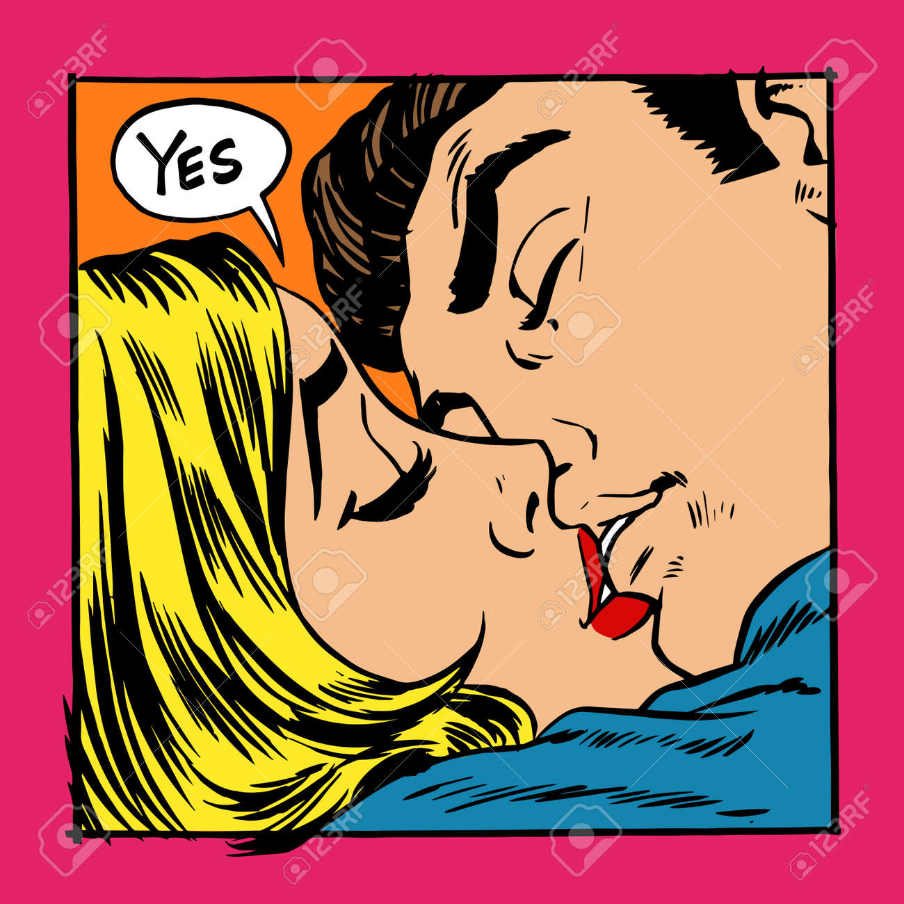 Woman and man kissing. The girl says Yes - 43899549