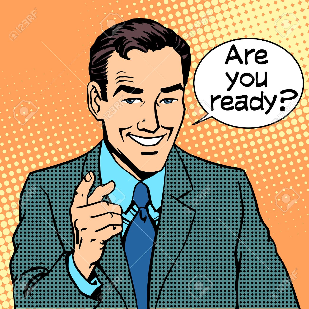 Are you ready businessman says retro style pop art - 44313543
