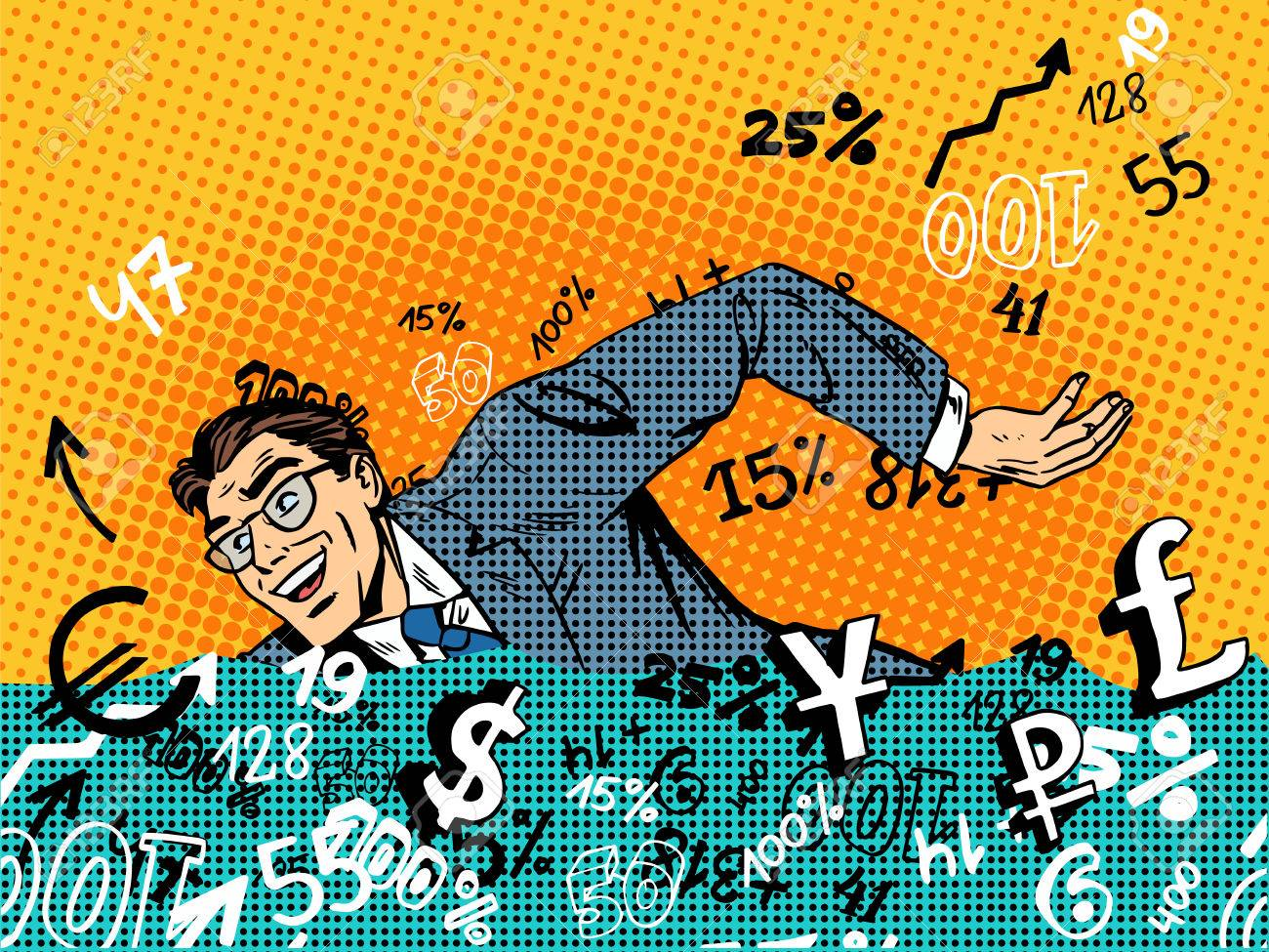 Businessman swimming in money business concept Finance banks in the market. Retro style pop art - 44584864
