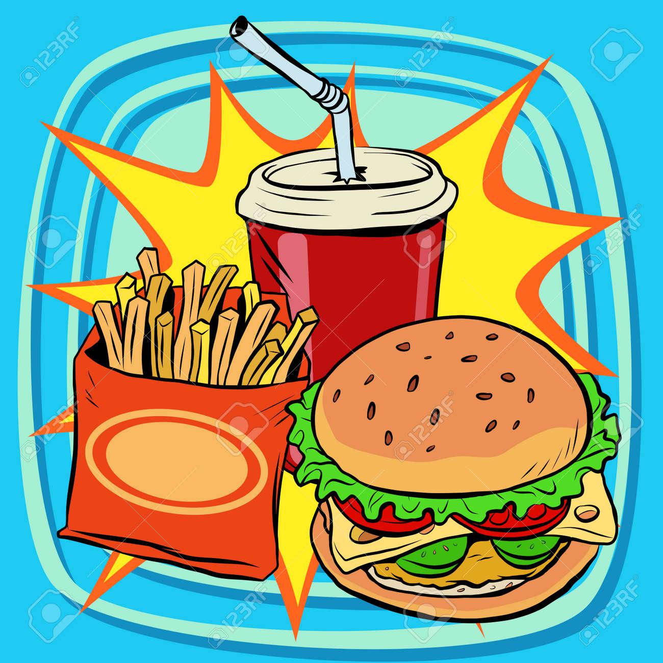 fast food fries burger drink cola pop art retro vector. Street restaurant. Nourishing food. Retro food - 55354159