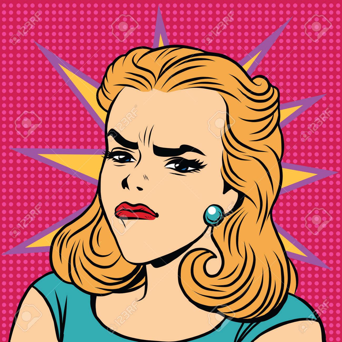 Emoji retro anger disgust girl emoticons pop art illustration emoji woman emotions girl