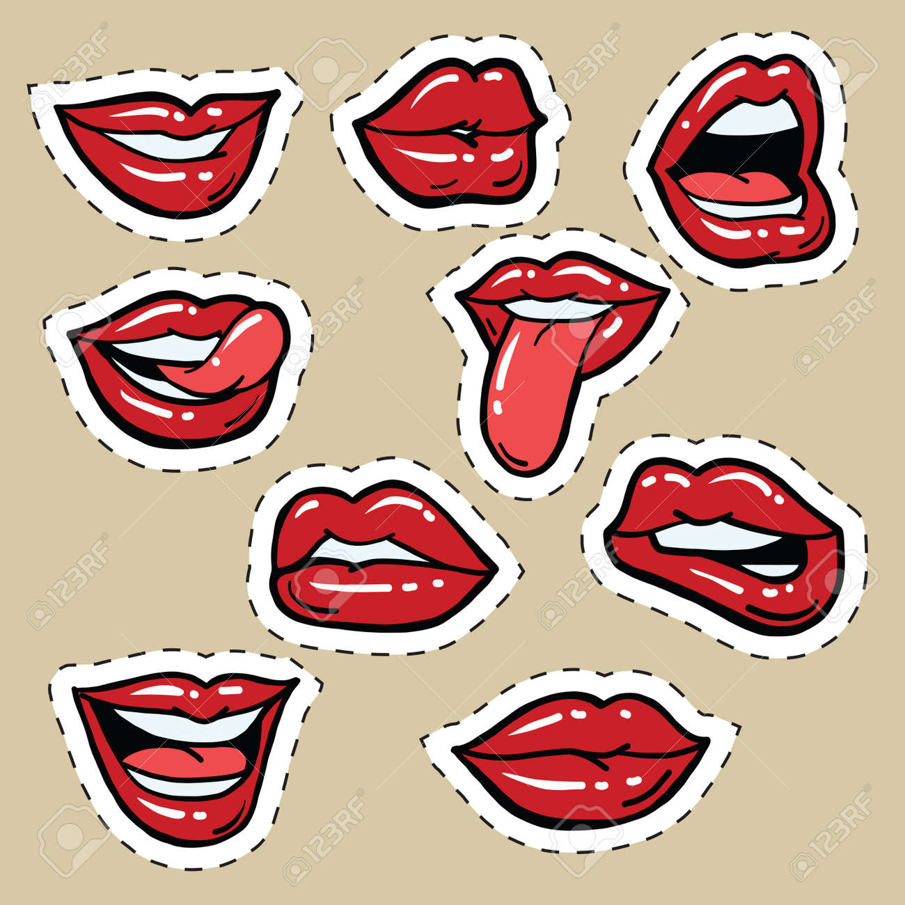 set of red female lips and tongue pop art comic illustration rh 123rf com Funny Eyes Clip Art Cute Lips Clip Art