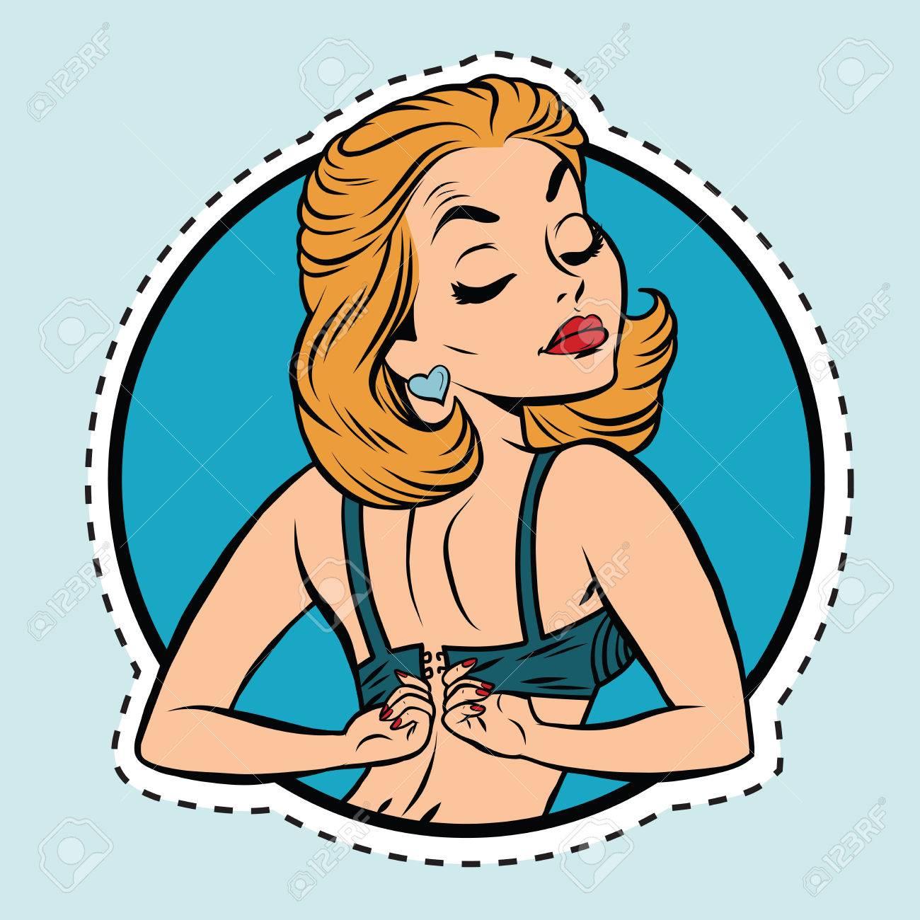 Pin-up girl wears a bra, pop art comic illustration. Label sticker cutting contour - 64450212