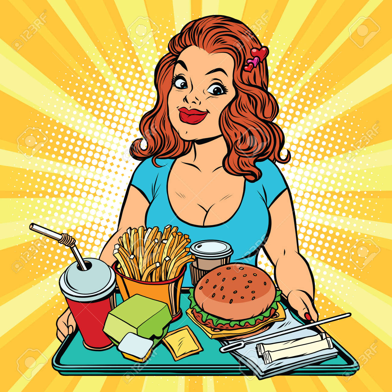 Lifestyle young woman and a fast food lunch in the restaurant, pop art retro comic book vector illustration. Burger, fries and a drink. The concept of healthy eating - 68502547