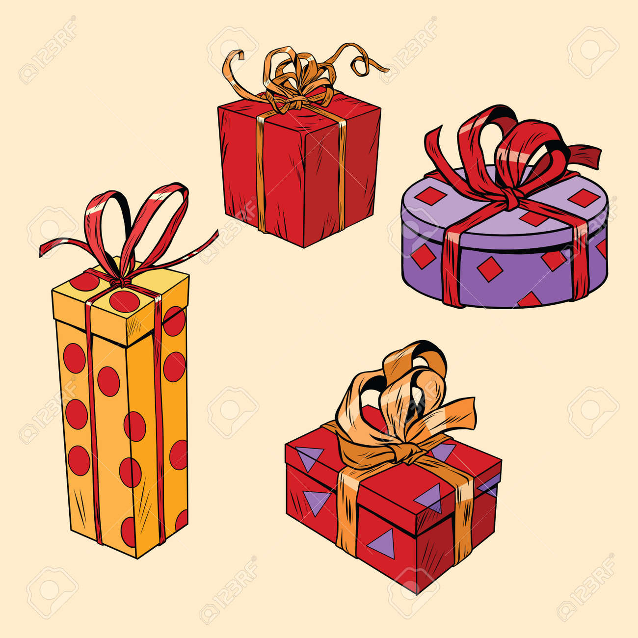 Satz Von Urlaub Weihnachten Boxen Mit Geschenken, Pop-Art Retro ...