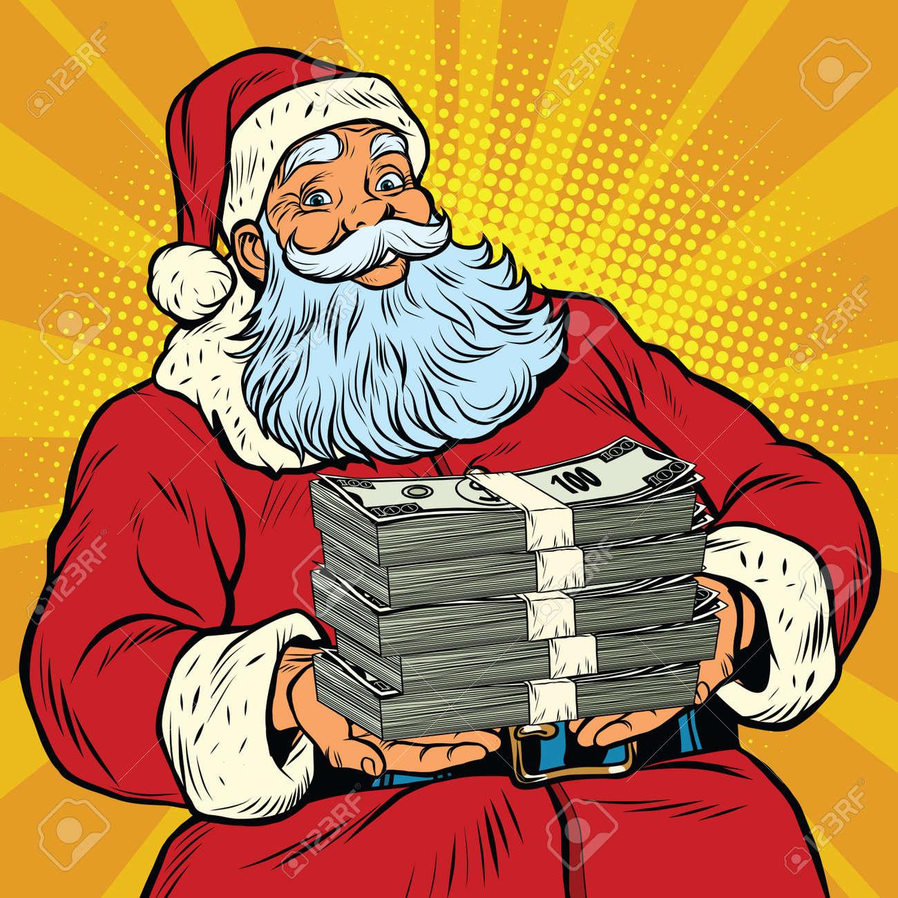 Santa Claus with money, pop art retro comic book illustration. Christmas discounts and sales - 68120049