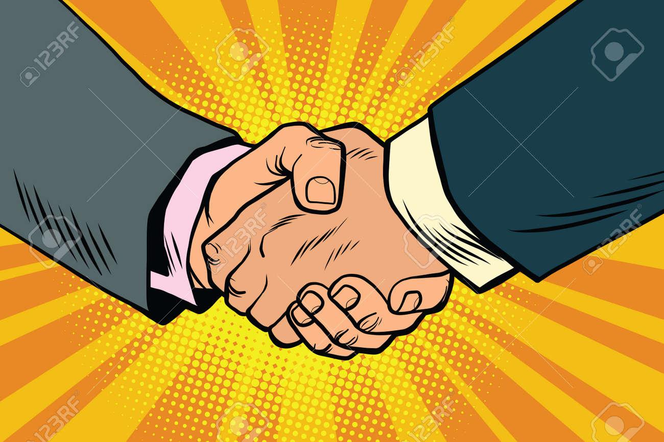 Business handshake, partnership and teamwork, pop art retro comic book illustration - 68120051
